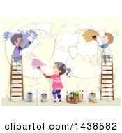 Poster, Art Print Of Group Of School Children Painting A Map On A Wall