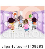 Clipart Of A Rear View Of Happy School Children Jumping In A Hall Royalty Free Vector Illustration by BNP Design Studio