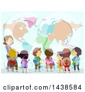 Clipart Of A Female Teacher And Group Of School Children Looking At A World Map Royalty Free Vector Illustration
