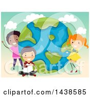 Poster, Art Print Of Group Of School Children With A Globe