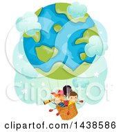 Clipart Of A Group Of Children Riding In A Globe Hot Air Balloon Royalty Free Vector Illustration by BNP Design Studio