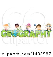 Clipart Of A Group Of School Children With Geography Text Royalty Free Vector Illustration