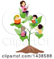 Female Teacher And Group Of School Children Reading On A Plant