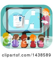 Clipart Of A Female Teacher And A Group Of School Children Taking Computer Lessons Royalty Free Vector Illustration by BNP Design Studio