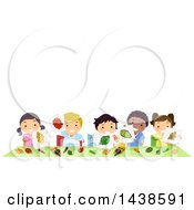 Clipart Of A Group Of School Children Holding Up Artwork Of Leaves Royalty Free Vector Illustration by BNP Design Studio