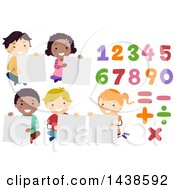 Clipart Of A Group Of School Children Holding Blank Signs With Numbers And Math Symbols Royalty Free Vector Illustration