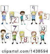 Sketched Group Of School Children Holding Up Number Boards