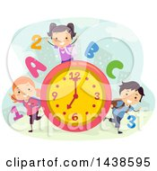 Clipart Of A Group Of School Children With Numbers Letters And A Clock Royalty Free Vector Illustration by BNP Design Studio