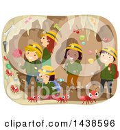 Clipart Of A Group Of School Children In An Ant Tunnel Royalty Free Vector Illustration by BNP Design Studio