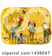 Clipart Of A Group Of Children Inside A Bee Hive Royalty Free Vector Illustration