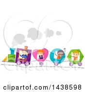 Clipart Of A Group Of School Children Riding A Shapes Train Royalty Free Vector Illustration by BNP Design Studio