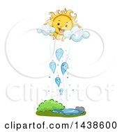 Clipart Of A Demonstration Of Condensation Through Mascots Of Water Droplets Rising Towards A Mascot Of The Sun Royalty Free Vector Illustration
