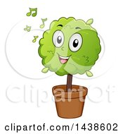 Clipart Of A Potted Plant Mascot Listening To Music Royalty Free Vector Illustration