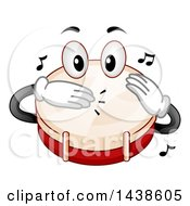 Clipart Of A Snare Drum Mascot Tapping Its Head With Its Hands Royalty Free Vector Illustration