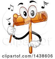 Clipart Of A Wood Block Mascot Tapping Itself With A Beater To Produce Sounds Royalty Free Vector Illustration