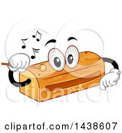 Wood Block Instrument Mascot Tapping Itself With A Wooden Stick To Produce Sounds