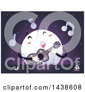 Clipart Of A Moon Mascot Singing A Love Song And Strumming A Guitar Over The Ocean At Night Royalty Free Vector Illustration