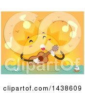 Sun Mascot Singing A Love Song And Strumming A Guitar Over The Ocean