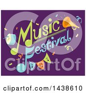 Music Festival Text With Instruments On Purple