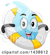 Water Drop Mascot Floating With A Life Buoy Inner Tube