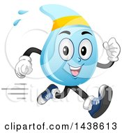 Clipart Of A Water Drop Mascot Running Royalty Free Vector Illustration
