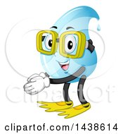 Clipart Of A Water Drop Mascot Wearing Swim Fins And Goggles Royalty Free Vector Illustration