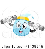 Clipart Of A Water Drop Mascot Working Out With Dumbbell Weights Royalty Free Vector Illustration