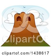 Clipart Of A Pleasant And Calm Volcano Mascot Royalty Free Vector Illustration