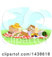 Clipart Of A Picnic With Food On A Sunny Day Royalty Free Vector Illustration