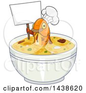 Fish Chef Holding Up A Blank Sign In A Bowl Of Soup