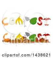 Clipart Of Compost Word Designs With Kitchen Refuse Royalty Free Vector Illustration