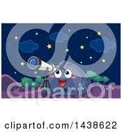 Poster, Art Print Of Tent Character Looking At The Stars Through A Telescope