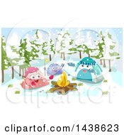 Group Of Tent Characters Around A Campfire On A Snowy Day