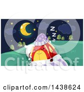 Clipart Of A Tent Character Tucked In Under A Night Sky Royalty Free Vector Illustration