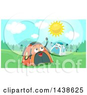 Clipart Of Happy Tent Characters On A Sunny Day Royalty Free Vector Illustration