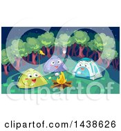 Clipart Of A Group Of Happy Tents Making Smores Around A Camp Fire Royalty Free Vector Illustration by BNP Design Studio