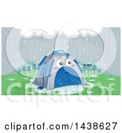 Clipart Of A Sad Tent Being Rained On Royalty Free Vector Illustration