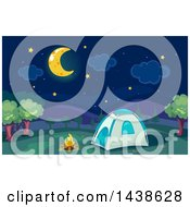 Poster, Art Print Of Campfire And Tent Under A Crescent Moon And Night Sky