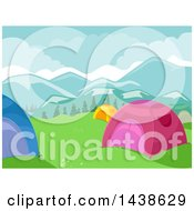 Clipart Of A Mountainous Camp Site With Tents Royalty Free Vector Illustration