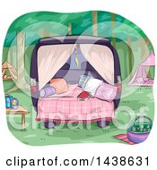 Clipart Of A Glamping Site Set Up In The Back Of A Van Royalty Free Vector Illustration
