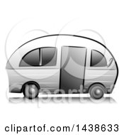 Clipart Of A Grayscale Camper Royalty Free Vector Illustration by BNP Design Studio