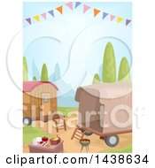 Clipart Of A Picnic And Caravans Royalty Free Vector Illustration by BNP Design Studio