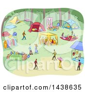 Poster, Art Print Of Sketched Park With People Having Fancy Picnics
