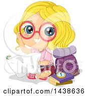 Poster, Art Print Of Happy Blond White Explorer Girl With Her Gear