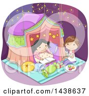 Clipart Of Happy Girls Sleeping In A Tent Under Fairy Lights Royalty Free Vector Illustration by BNP Design Studio