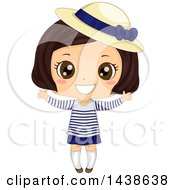 Clipart Of A Happy Brunette Girl In A Breton Shirt And Derby Hat Royalty Free Vector Illustration