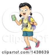 Clipart Of A Happy Girl Walking With A Backpack Nagivation App And Binoculars Royalty Free Vector Illustration by BNP Design Studio