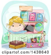 Clipart Of A Happy Blond White Girl At A Roadside Book Stand Royalty Free Vector Illustration