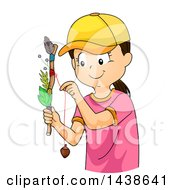 Clipart Of A Happy Tomboy Girl Holding A Journey Stick Royalty Free Vector Illustration by BNP Design Studio