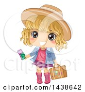 Happy Blond White Girl Traveler Holding Tickets And A Suitcase
